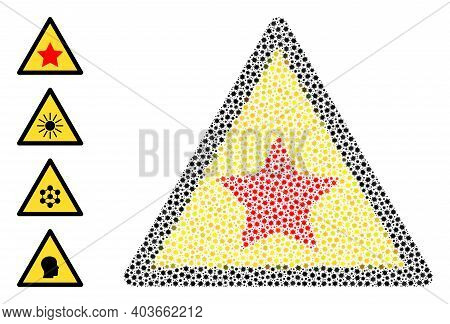Vector Communism Star Warning Icon Coronavirus Mosaic. Communism Star Warning Mosaic Is Organized Of