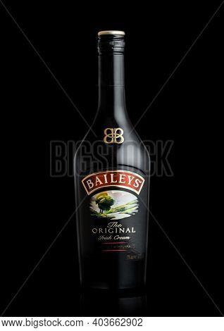 London, Uk - June 02, 2020: Bottle Of Baileys Original Irish Cream On Black Background. Irish Whiske