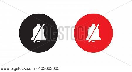 Silent Notification Bell Icon Vector In Flat Style
