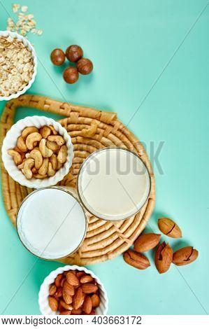 Various Vegan Plant Based Milk And Ingredients, Non-dairy Milk, Alternative