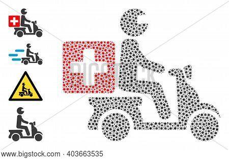 Vector Medical Motorbike Icon Covid-2019 Mosaic. Medical Motorbike Mosaic Is Shaped Of Tiny Covid Vi