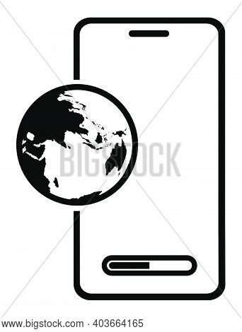 Smartphone Icon With With Symbol Of Sending Email And Data To Internet. Sending And Downloading Info