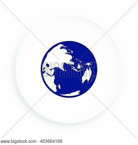 Icon Of Hemisphere Of Globe With Continents And Continents. Button For Mobile Application Or Web In