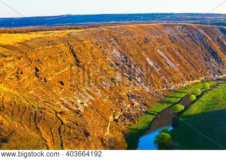 Limestone Cliffs At The Riverside . Panoramic Landscape With Cliffs And River