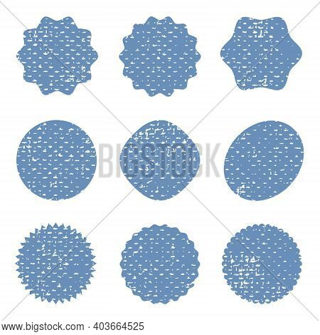 Grunge Circle Post Stamp Mockups Set Of Distressed Overlay Circular Mark Texture For Your Design. Lo