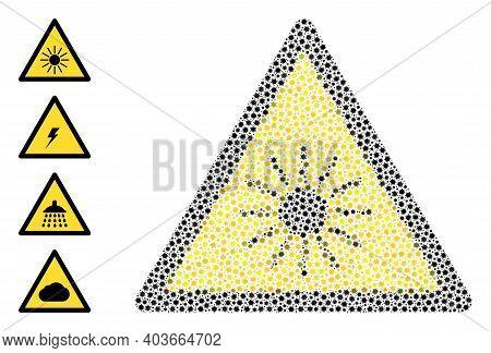 Vector Sun Radiation Warning Icon Coronavirus Collage. Sun Radiation Warning Mosaic Is Constructed F