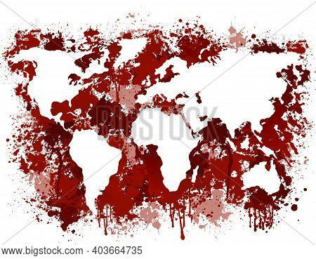 Bloody Earth Map. Red Continents Streaked With