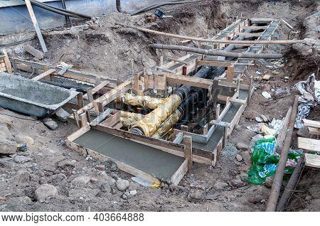 Petrozavodsk, Russia - 11 December 2020. Repair Of The Heat Pipeline. Replacing The Heating System