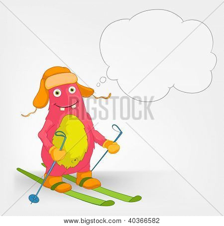 Cartoon Character Funny Monster Isolated on Grey Gradient Background. Skiing. Vector EPS 10. poster