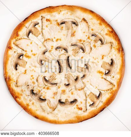 Fresh Pizza With Mushroom, Chicken And Cheese Isolated On White Background. Copyspace. Top View.