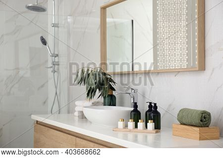 Bathroom Counter With Stylish Vessel Sink And Toiletries. Interior Design