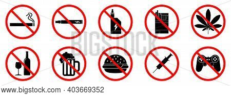 Bad Habits Icons. Bad Habits Is Forbidden. Stop Or Ban Red Round Sign With Bad Habit Icon. Vector Il