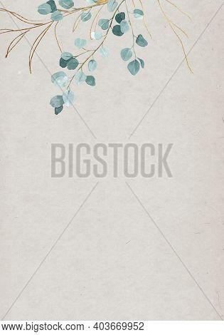 Pale Watercolor Leaves And Golden Lines On Beige Background - Vertical Botanical Design Banner. Flor