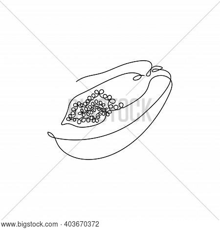 Black Continuous One Line Drawing. Papaya Exotic Fruit. Vector Illustration. Minimal Abstract Art. B