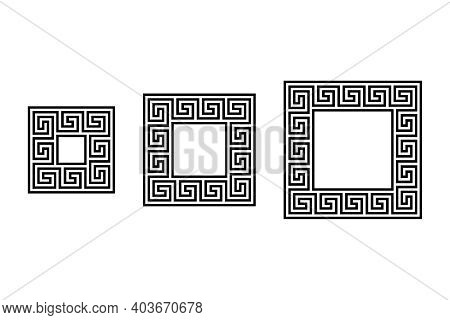 Three Small Square Frames With A Seamless Meander Pattern. Meandros, A Decorative Border, Constructe