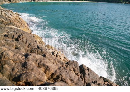 Seascape In Nature Composition Crashing Surf Wave