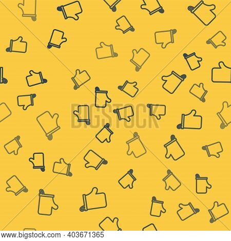 Blue Line Sauna Mittens Icon Isolated Seamless Pattern On Yellow Background. Mitten For Spa. Vector