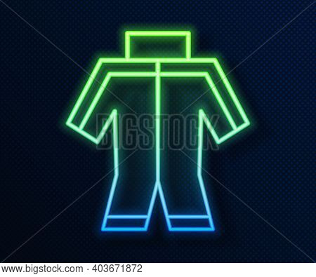 Glowing Neon Line Wetsuit For Scuba Diving Icon Isolated On Blue Background. Diving Underwater Equip