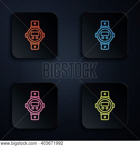 Color Neon Line Diving Watch Icon Isolated On Black Background. Diving Underwater Equipment. Set Ico