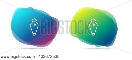Set Line Pastry Bag For Decorate Cakes With Cream Icon Isolated On White Background. Kitchenware And