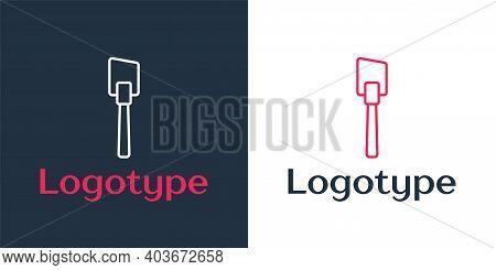 Logotype Line Spatula Icon Isolated On White Background. Kitchen Spatula Icon. Bbq Spatula Sign. Bar