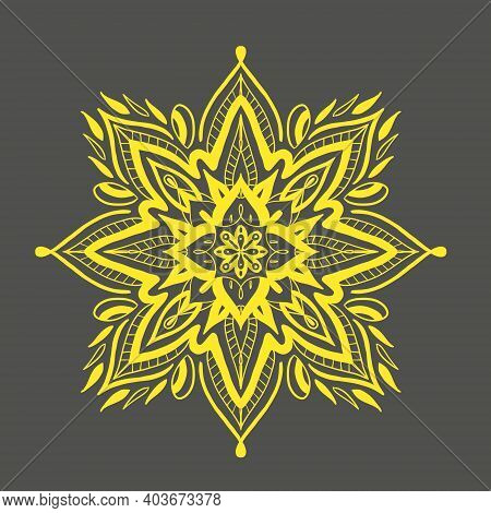 Yellow And Gray Are The Colors Of 2021. Mandala Yellow.