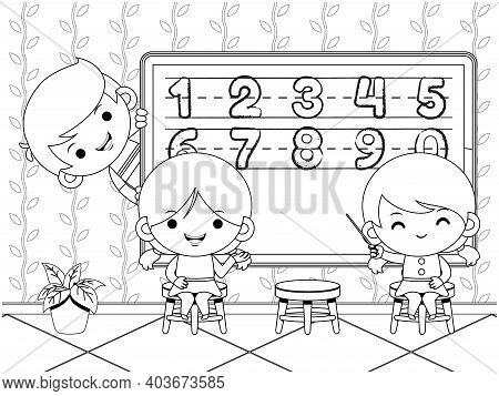 Illustration Vector Graphic Of Coloring Book For Kids. Kids Teaching And Learning Number In Front Of