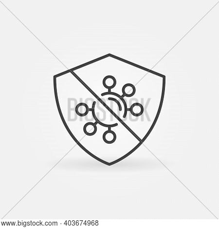 Antibacterial And Virus Defence Vector Thin Line Concept Icon Or Design Element