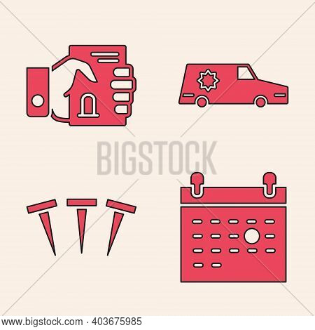 Set Calendar Death, Death Certificate In Hand, Hearse Car And Metallic Nails Icon. Vector