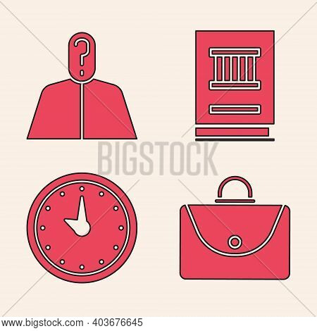 Set Briefcase, Anonymous With Question Mark, Law Book And Clock Icon. Vector