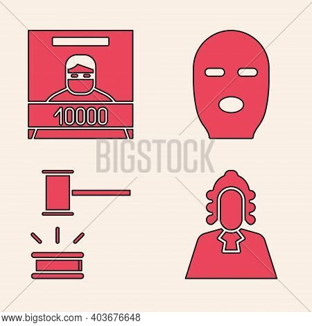 Set Judge, Wanted Poster, Thief Mask And Judge Gavel Icon. Vector