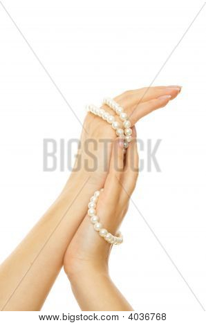 Beautiful Woman Hands With Pearls