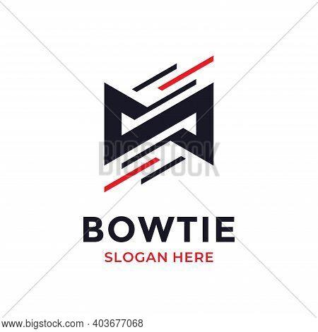 Fast Bow Tie Logo Design Template. Business Logotype. Creative Tuxedo Icon Vector Illustration.