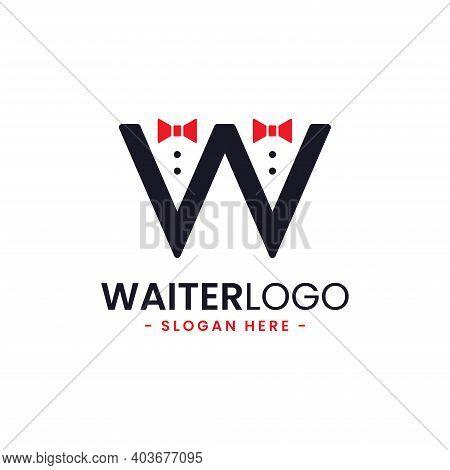 Letter W Waiter Logo Design Template. Butler Icon Vector. Professional Hotel Restaurant Service Logo