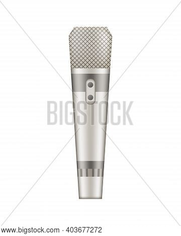 Microphone. Recorder Or Dictaphone For Reporters. Record For Multimedia. Audio Podcast Broadcast Or