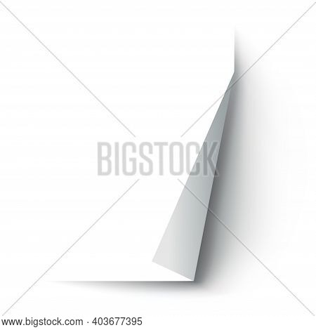 Curled Paper Corner. Curve Page Corner, Page Edge Curl And Bent Paper Sheet With Realistic Shadow. P