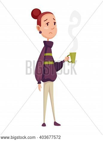 Flu Cold. Flu Or Common Cold Treatment At Home. Woman With Cup In Hand. Season Allergy. Allergy Sick