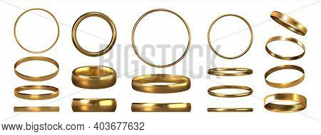 Golden Rings. Realistic Jewelry. View Of Shiny Gold Accessories From Different Sides. Collection Of