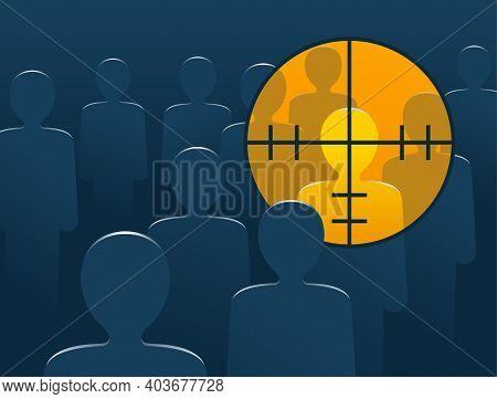 Terrorism Danger And War Conflict - Aiming To Higlighted People With Optical Sight - Target Lens Vie