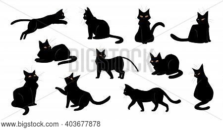 Cat. Cartoon Black Kitten Sitting And Walking, Standing Or Jumping. Isolated Poses Of Playful Kitty.