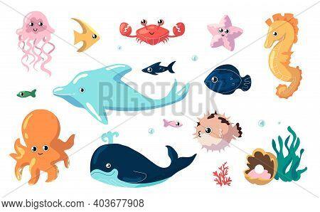 Cute Sea Animals. Cartoon Funny Fish Swim Underwater. Collection Of Ocean Inhabitants. Isolated Jell