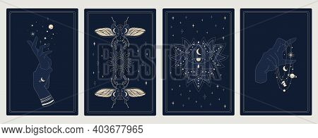 Astrology Posters. Mystic Sacred Symbols. Outline Cosmic Cards With Planets And Stars. Decorative Sy