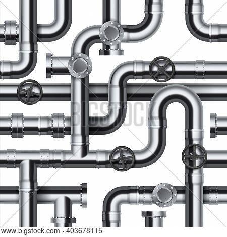 Seamless Pipeline Pattern. Realistic Water And Gas Engineering Plumbing System. 3d Glossy Steel Cyli