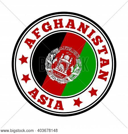 Afghanistan Sign. Round Country Logo With Flag Of Afghanistan. Vector Illustration.