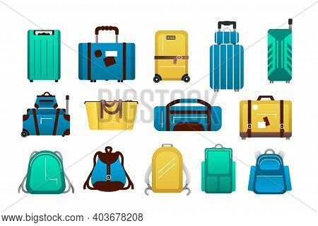 Luggage. Cartoon Travel Plastic Suitcases And Airport Journey Baggage, Tourist Trip Backpack, Bags A