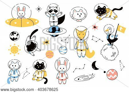 Space Animals. Adventure Astronauts On Alien Planet And Galaxy. Cute Cats And Fox, Rabbit Or Raccoon