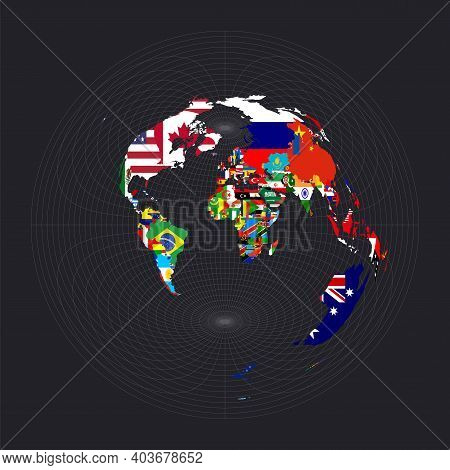 Worldmapwithallcountries Andtheirflags. Azimuthal Equidistant Projection. Map Of The World With Meri