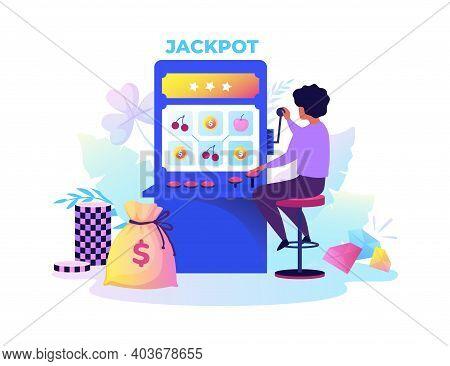 Gambling Machine. Cartoon Woman Playing Risky Games. Casino Electronic Equipment For Random Raffling