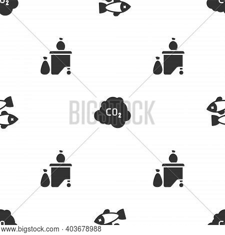 Set Dead Fish, Co2 Emissions In Cloud And Full Dustbin On Seamless Pattern. Vector