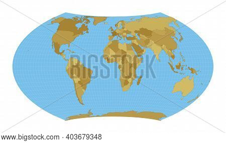 World Map. Wagner Vii Projection. Map Of The World With Meridians On Blue Background. Vector Illustr
